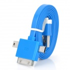 USB to Apple 30Pin / Micro 5Pin / USB 2.0 Data Cable for iPhone 4 / 4S / iPad - Blue + White