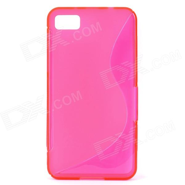 S Style Protective TPU Back Case for BlackBerry Z10 - Translucent Deep Pink s style protective tpu back case for htc 8s translucent deep pink