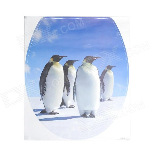 1028 Penguin Pattern Self-Adhesive Toilet Seat Cover Decoration Sticker - Multicolored 10pcs pack 2mm mix colors rolls metallic adhesive striping tape wide line diy nail art tips strip sticker decal decoration kit