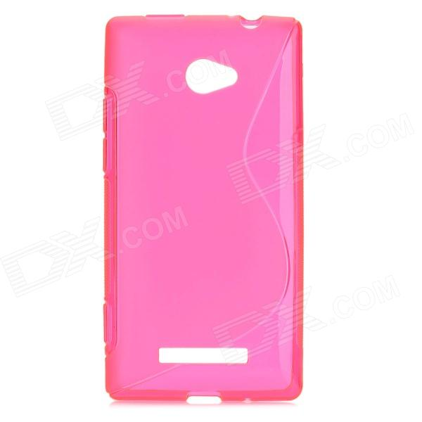Protective TPU Back Case for HTC 8X - Translucent Deep Pink s style protective tpu back case for htc 8s translucent deep pink