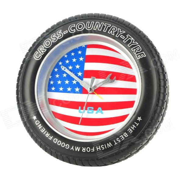 Fashion Tire Style United States National Flag Pattern Desk / Wall Clock - Black (1 x AA)
