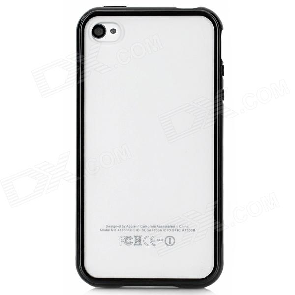Protective TPU Frame Matte Back Case for Iphone 4 / 4S - Black + Transparent stylish bubble pattern protective silicone abs back case front frame case for iphone 4 4s