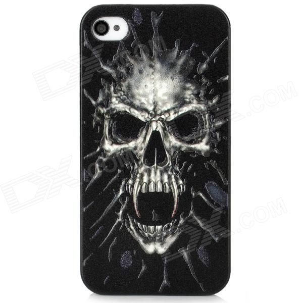 Protective Angry Skull Embossment PC Case for Iphone 4 / 4S - Black + Grey cool skull head style protective soft silicone back case for iphone 4 4s pink