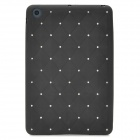 Checked Pattern Protective Imitation Diamond Soft Silicone Back Case for iPad Mini - Black