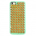 Protective Plastic Nail Plate Design Back Case + Screen Guard for Iphone 5 - Light Green + Golden