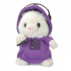DJ Hamster Wearing Headset Style Electronic Plush Talking / Moving Toy - Purple + White
