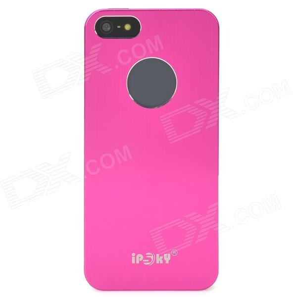 IPSKY Brushed Metal Protective Aluminum Alloy Back Case for Iphone 5 / 5s - Deep Pink + Silver cartoon pattern matte protective abs back case for iphone 4 4s deep pink