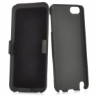 Protective Clip Style Plastic Case w/ Adjustable Stand for Ipod Touch 5 - Black