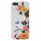 3D Relief Flowers Birds Pattern Protective Plastic Back Case for Iphone 5 - White + Yellow + Red