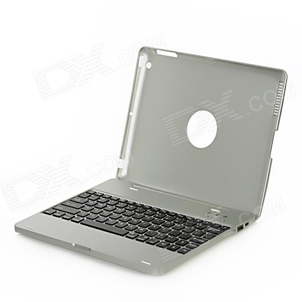 M3 Wireless Bluetooth v2.0 Flip-Open Power Bank 82-Key Keyboard for Ipad 2 / 3 / 4 - Silver Grey