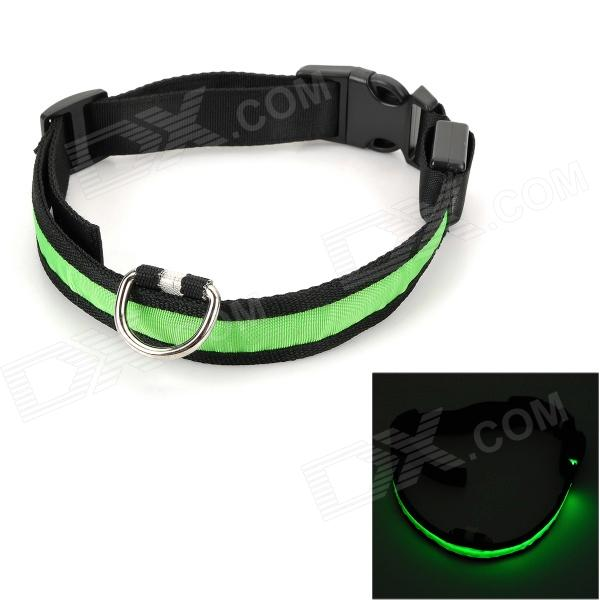 YJ-32 Pet's Dog Nylon Collar w/ 3-Mode Pink LED - Black + Green doglemi dm40024 m led nylon collar for pet dog green size m