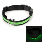 YJ-32 Pet's Dog Nylon Collar w/ 3-Mode Pink LED - Black + Green