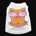 Sexy Bikini Pattern Vest for Dog - White + Brown + Pink (Size S)