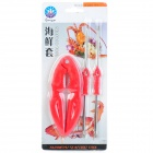 Guangyu GY7-399 3-in-1 Seafood Lobster Crab Cracker + Forks Tool Set - Red + Silver