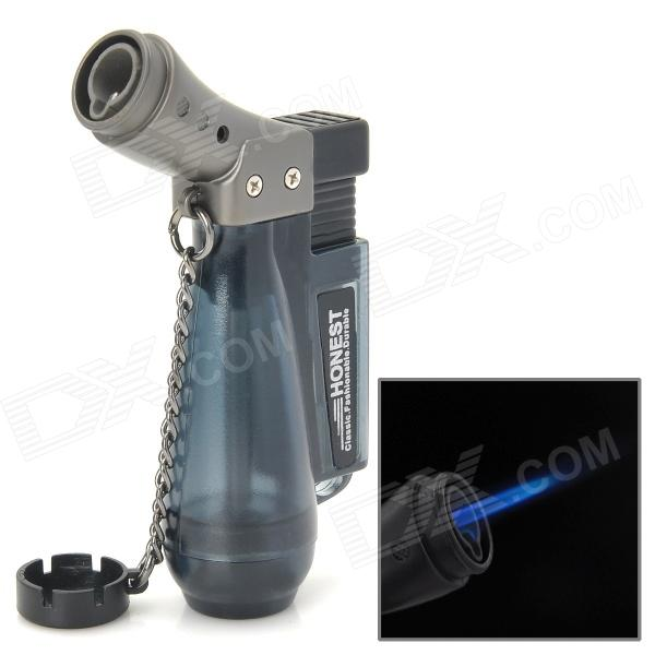 331 1300 Centigrade Windproof Blue Butane Jet Torch Lighter w / Keychain - Dark Green