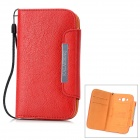 KALAIDENG Freshing Series Protective PU Leather Case for Samsung SS i9082 w/ Strap - Red