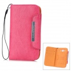 KALAIDENG Freshing Series Protective PU Leather Case for Samsung SS i9082 w/ Strap - Deep Pink