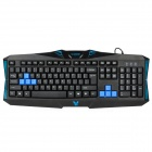 Rajoo Wired USB 104-Key Keyboard - Black + Blue