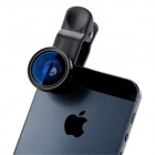 LQ-001 Universal Clip-On 0.67X Wide Angle 180' Fish Eye Lens + Macro Lens for Iphone + More - Black