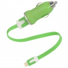 USB Car Charger + USB Stecker auf 8pin Blitz Male Flat Cable - Green (12 ~ 24V)