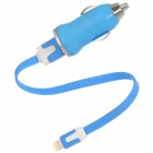 USB Car Charger + USB Stecker auf 8pin Blitz Male Flat Cable - Blue (12 ~ 24V)