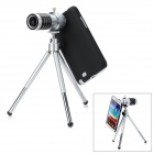 12X Zoom Telescope Lens with Protective Back Case for Samsung N7100 - Black + Silver