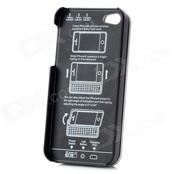 Thickening Slide-out Standing Bluetooth V3.0 50-Key Keyboard Hard Case for Iphone 5 - Black