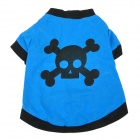 Cool Skull Head Pattern Pet Dog Cotton T-Shirt - Blue + Black (Size M)
