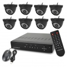 8-CH H.264 Surveillance Network CCTV DVR w/ 8 x 480 TVL 36- IR LED Cameras Security System - Black