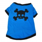 Cool Skull Head Pattern Pet Dog Cotton T-Shirt - Blue + Black (Size L)