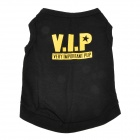 Creative VIP Pattern Pet Dog Cotton T-Shirt - Black + Yellow (Size M)