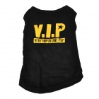 Creative VIP Pattern Pet Dog Cotton T-Shirt - Black + Yellow (Size L)
