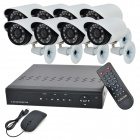 8-CH H.264 Surveillance Network CCTV DVR w/ 8 x 420 TVL 22- IR LED Cameras Security System - Black