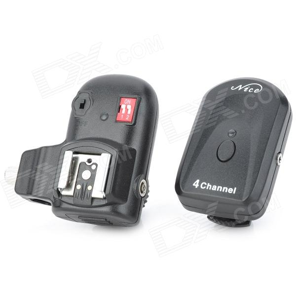 Nice PT-04N2 4-Ch Radio Remote Wireless Hot Shoe Speedlite Flash Trigger Set for Nikon - Black 2013 new version nice transmitter nice remote control smilo 2 smilo 4 nice replacement remote