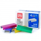 24/6 Creative Colored Steel Staples - Deep Pink + Yellow + Blue + Green (16 Strips)