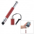 Выдвижной Smart Touch Pen Stylus ж / 3,5 мм Anti-Dust Разъем для сенсорного экрана - Silver + Deep Red