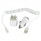 USB Male to 8pin Lightning Male Coil Cable + USB Car Charger + US Plug Power Adapter - White