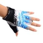 Fashion Thin Anti-Slip Half-Finger Outdoor Sports Cycling Gloves - Blue + Black + Grey (Size M)