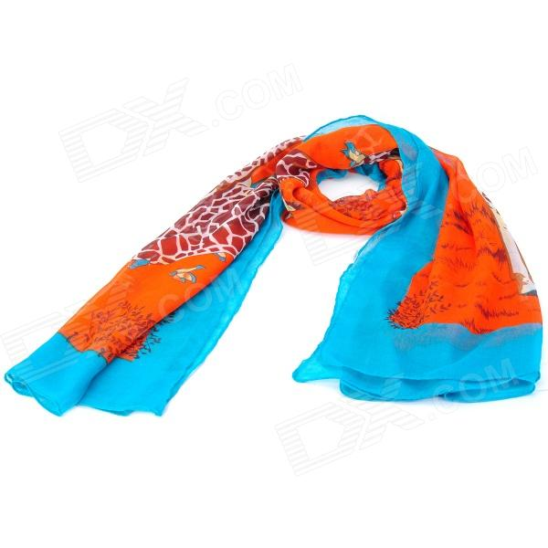 Giraffe Pattern Soft Cotton Voile Scarf - Multicolored