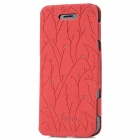 Memo Protective Flip-Open PU Leather Case for iPhone 5 - Red