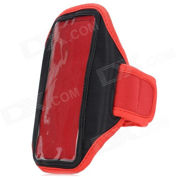 Stylish Sports Gym Arm Band Case w/ Magic Tape for Samsung Galaxy S4 / i9500 - Red + Black sunshine sports velcro protective arm bag for samsung galaxy s5 i9600 red black