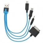 USB to Apple 30Pin + Nokia Small Head + Mini USB + Micro USB Charging Cable for iPhone 4 / 4S - Blue