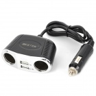 BESTEK MRS152 Dual USB Dual Cigarette Lighter Charging Adapter Socket w/ Car Power Charger - Black