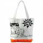 Cute Cat and Sun Pattern Canvas Shoulder Bag for Women - Black + White + Orangered (13L)