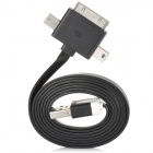 USB to Apple 30Pin / Micro 5Pin / Mini 5Pin Charging & Data Cable for iPhone 4 / 4S - Black + White