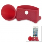 Horn Shape Rubber Audio / Video Hands-Free Speaker for iPhone 5 - Deep Red