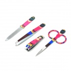 4-in-1 Stainless Steel Nail Clippers + File + Eyebrow Clip + Scissors Set - Deep Pink
