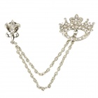 Zinc Alloy + Artificial Diamond Crown Pin Brooch - Silver