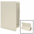 "Grid Pattern Protective Flip-Open PU Case w/ Stand for 7.9"" Ipad MINI - White"