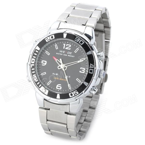 WeiDe WH-843 LED Analog + Digital Quartz Wrist Watch for Men - Silver + Black